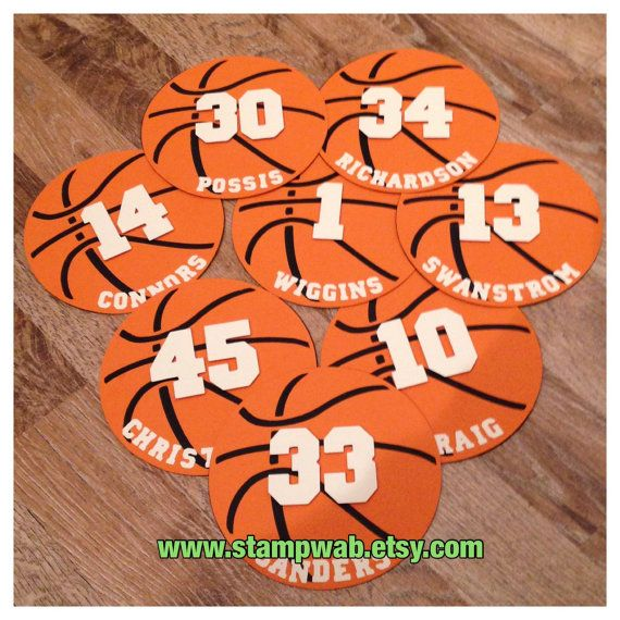 Add these cardstock Die-Cuts to your cheer posters, scrapbook projects, party décor, treat bags ... The possibilities are endless and your team will LOVE them! This listing is for Twelve (12) Basketball Die-Cuts. Fully Assembled by hand using high quality cardstock Each basketball measures approx 3-3/4 +++++ at checkout please leave the NAME & NUMBER for each ball+++++  ----------These Die-Cuts are MADE TO ORDER---------- ships within 10 Business Days  Need them sooner? Add the $10 R...