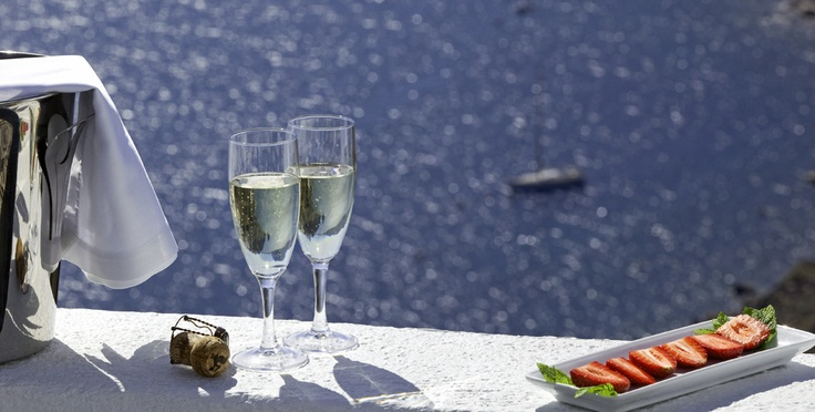 Champagne anyone?  IKIES, Oia, Santorini, Greece