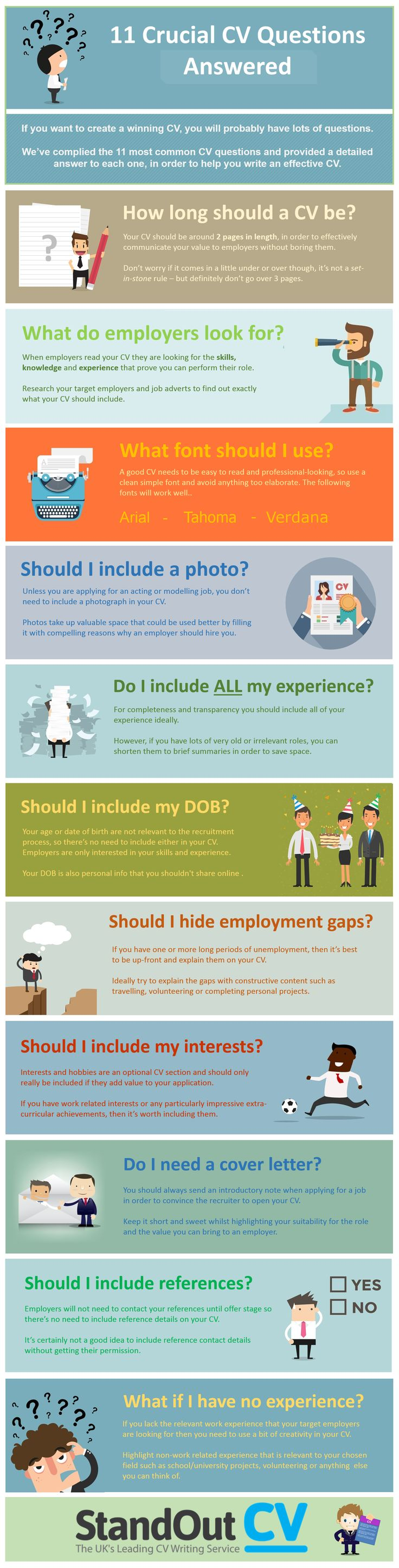 The 11 Most Common CV Writing Questions Answered Infographic - http://elearninginfographics.com/the-11-most-common-cv-writing-questions-answered/