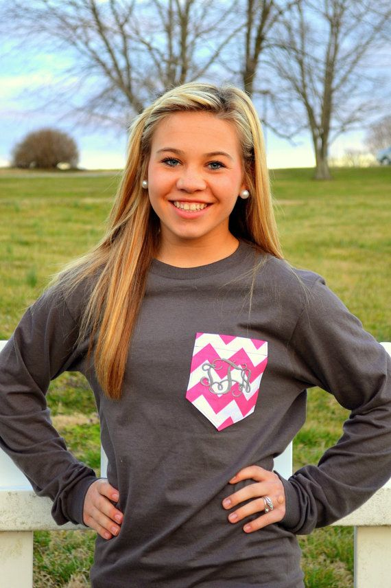 Monogram Pocket TShirts by thepolkadotdivas on Etsy, $20.00
