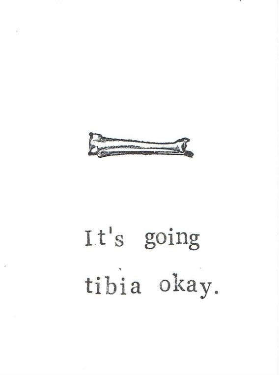 It's Going Tibia Okay Card | Funny Skeleton Anatomy Science Medical Humor Get Well Broken Leg Bone Gothic Nerdy Pun Men Doctor Nurse