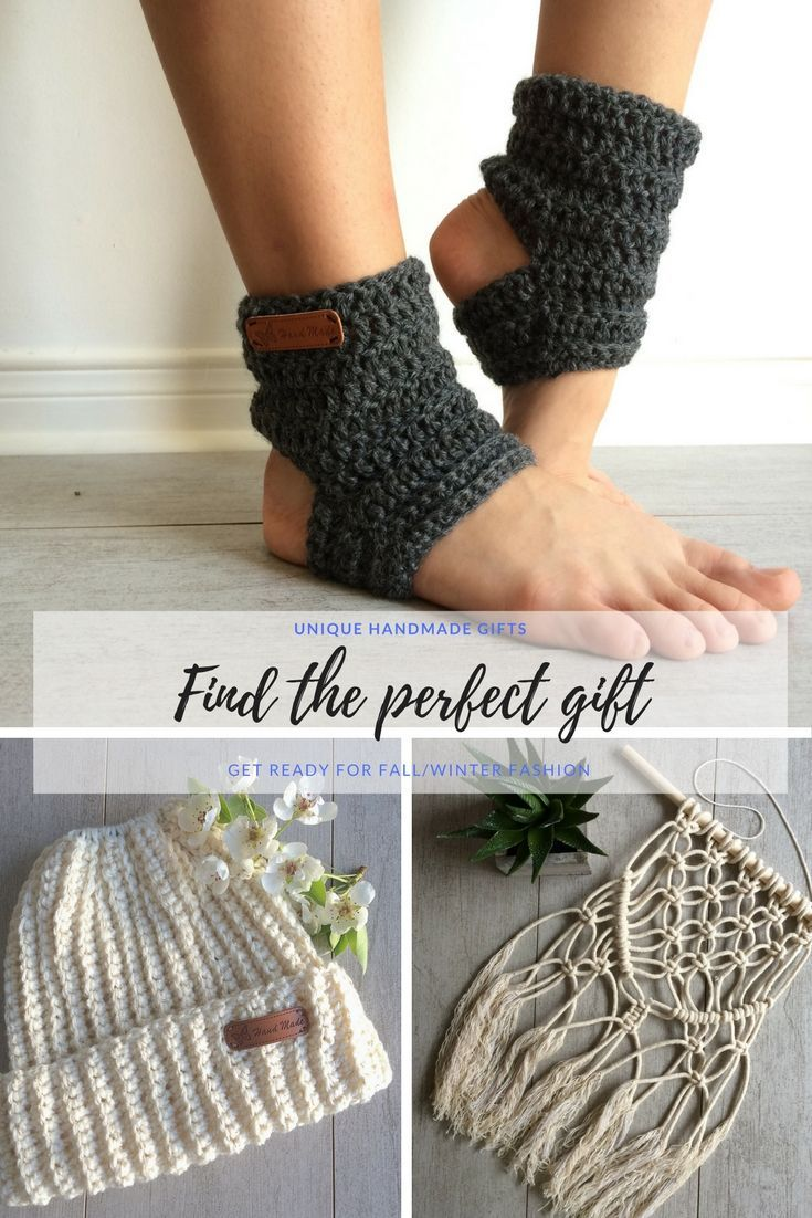 Perfect Holiday gift ideas. Handmade absolutely stunning knitting, crochet and macrame wall hanging. PDF knitting patterns, yoga socks, fingerless mittens, messy bun hats and more.