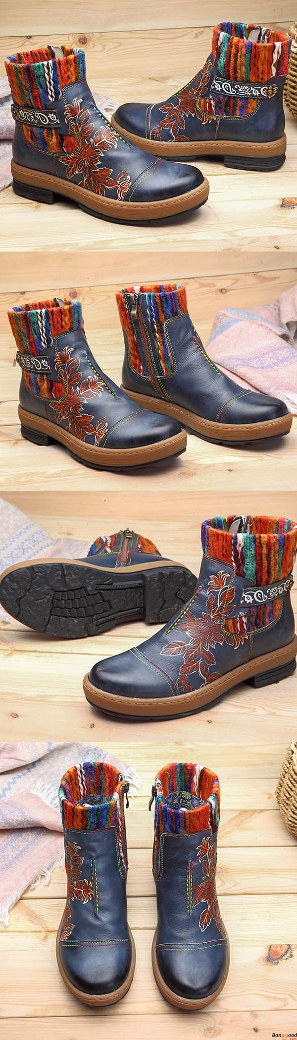 US$68.76 + Free shipping. SOCOFY Bohemian Color Match Pattern Ankle Flat Leather Boots. Women fashion winter style. Shop at banggood now.