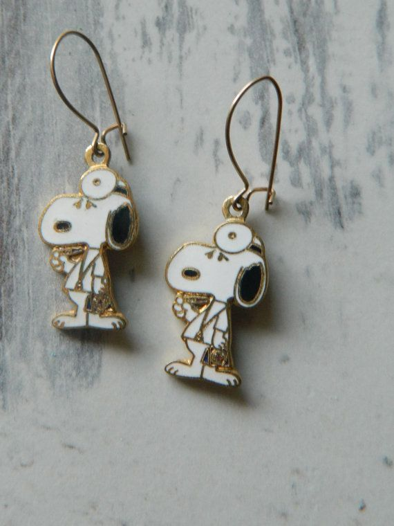 Snoopy Doctor Earrings Medical Earrings Snoopy by DecadesYoung
