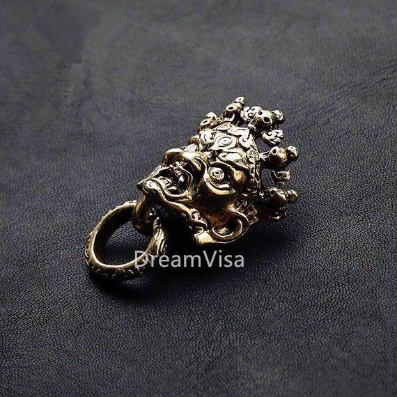 Handmade Bronze Wallet Chain With Skull Hook Snake Box Chain Brass