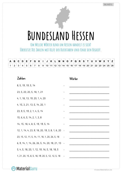 Hessen Materialguru Bundesland Mecklenburg Vorpommern Sachsen