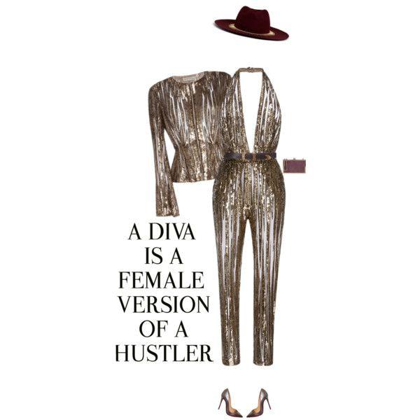 A fashion look from October 2016 by andreearaiciu featuring Elie Saab, Christian Louboutin, Venna, Carolina Herrera and WALL