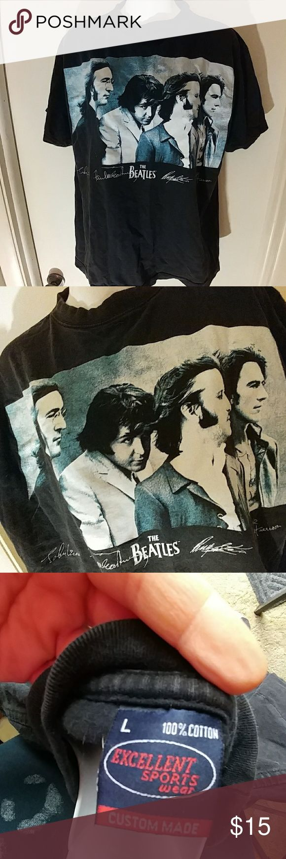 Men's L Beatles black T-shirt by Excellent Sports Very cool iron on of The Beatles on this t-shirt it is one of the best photos I've ever seen of them!  It is in very good condition it has a stone wash look to it and comes from a smoke-free home.  Excellent sportswear brand. excellent sports wear Shirts Tees - Short Sleeve