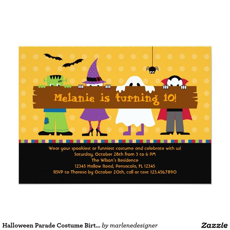 96 best halloween chic invitations images on pinterest halloween halloween parade costume birthday party invitation stopboris Images