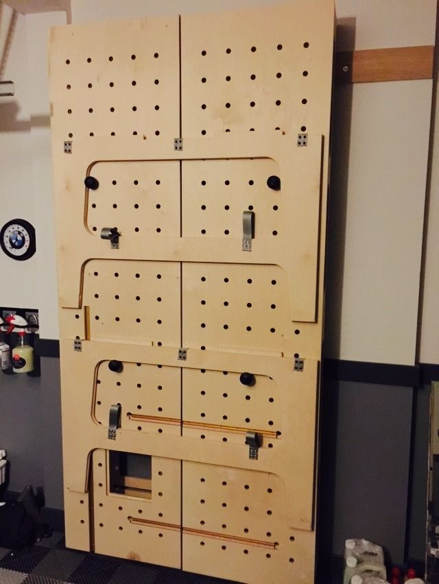 My Paulk Workbench.  Installed cleats to hang on wall.