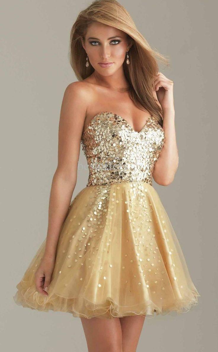 robe de soirée courte dorée à bustier coeur pailletté