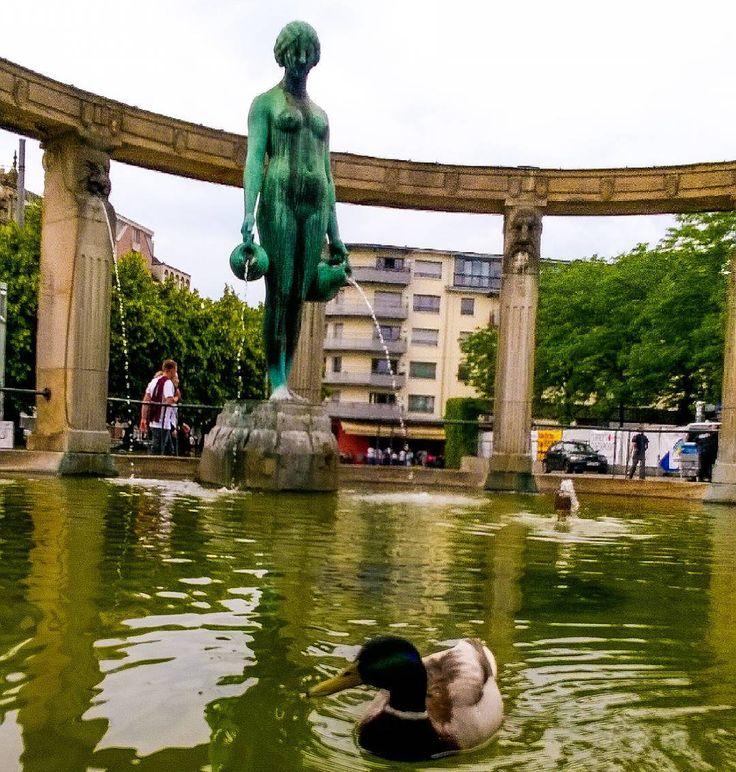 Wer schwimmt denn da im Stephanienbrunnen? Auch die Ente hat sich einen Platz in der Nähe vom Public Viewing gesucht  morgen starten Jogis Jungs in die zweite Runde! #daumendrücken  #visitkarlsruhe #karlsruhe #visitbawu #bwjetzt #brunnen #duck #ente #travel #germany #wednesday #Bergfest #middleoftheweek #instalike #instadaily #today #happy #water #animals #animallovers #watching #fountain