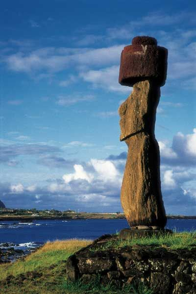 Moai statue with head cover, Rapa Nui (Easter Island), Chile