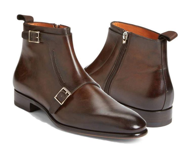 Handmade Double Monk Ankle Brown Boot Dress Formal Leather Boots Dress Boots Men #Handmade #DressBoot #Formal