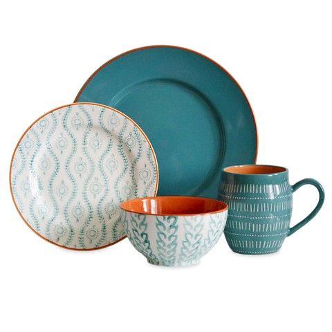 Baum Bros. 16pc Dinnerware Set- Tangiers Turquoise