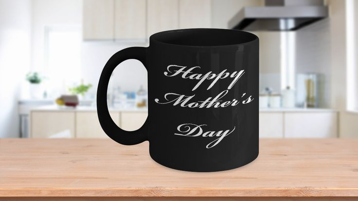 """This cup says it all! Take a look at this beautiful Black Coffee Mug for Mom especially for Mother's Day. It simply says, """"Happy Mother's Day"""". Give your Mom her own dedicated cup that celebrates the day.Cool mugs like this one speak to everyone on a personal level, making them feel special. And it's a functional gift, even if you're not a coffee or tea drinker. It can sit proudly on a desk as a pen holder as well. (Good for hot chocolate too)"""