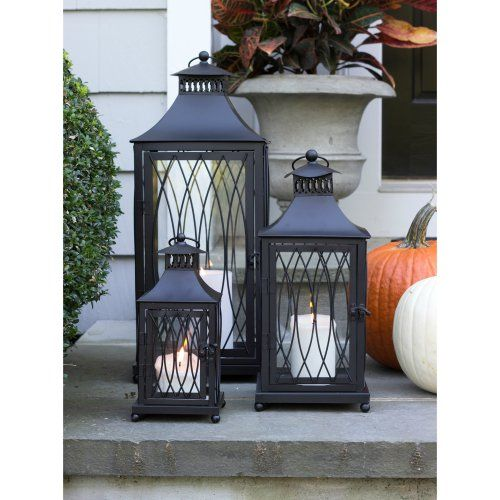 Hawthorne Black Metal Lanterns - Set of 3