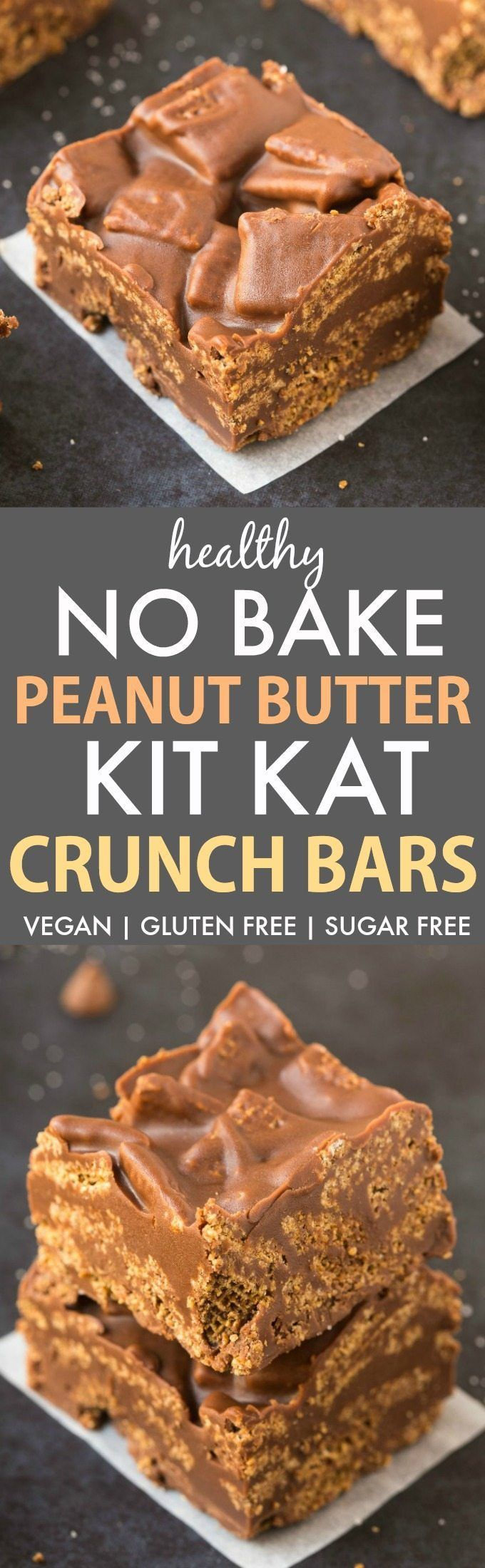 No Bake Peanut Butter Kit Kat Crunch Bars (V, GF, DF)- Easy, fuss-free and delicious, this healthy candy bar copycat combines chex cereal, chocolate and peanut butter in one!
