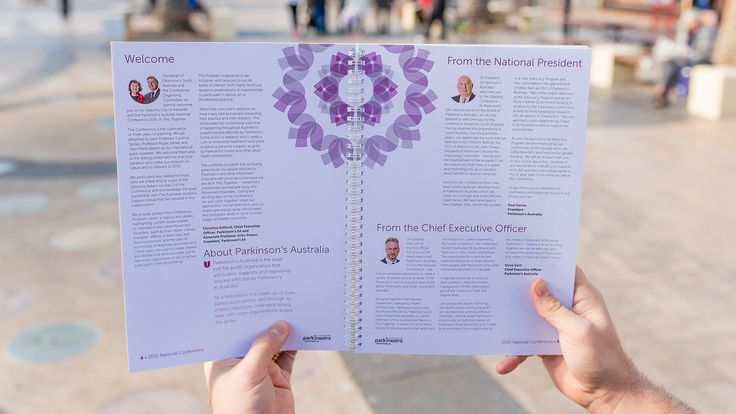 Parkinson's National Conference Handbook 2015, print, graphic design, flower mandala concept. - Drawcard
