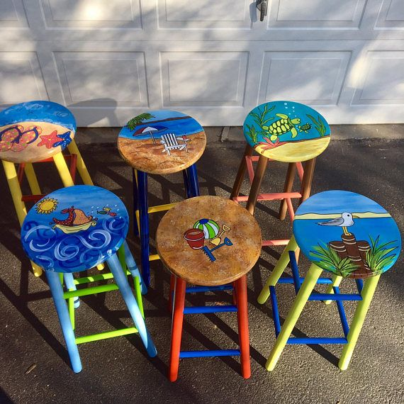 Whimsical Painted Furniture Painted Bar Stool Nautical Etsy Painted Bar Stools Whimsical Painted Furniture Paint Bar