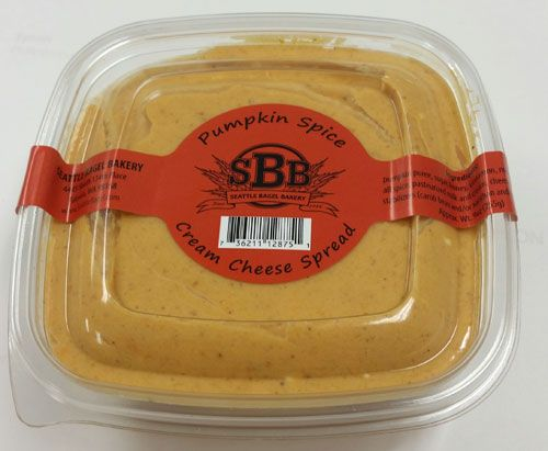 Seattle Bagel Bakery Pumpkin Spice Cream Cheese | Brand new this year!  The whipped pumpkin cream cheese tastes like the first bite of pumpkin pie after a big holiday dinner.  Rich, smooth with great flavor.