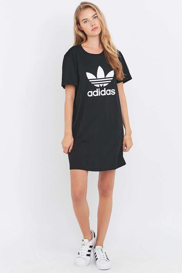 adidas Originals Black Trefoil T-shirt Dress - Urban Outfitters