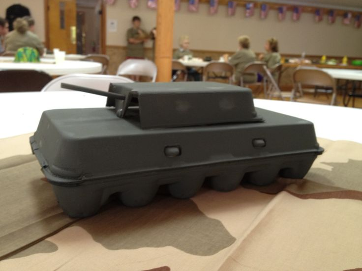 Army Tank made from an egg carton.  Teressa Janning made these for their VBS Boot Camp.  So creative!