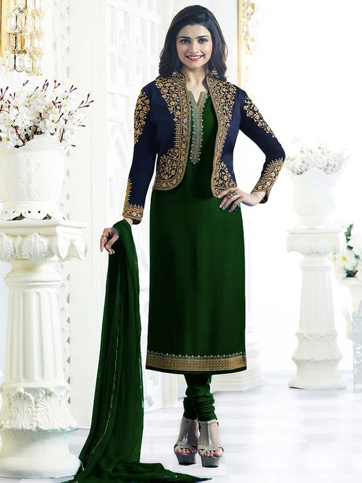 Delightful outfit will add a regal touch to your personality. Item code: SLANB003 Shop more: http://www.bharatplaza.com/women/salwar-kameez.html