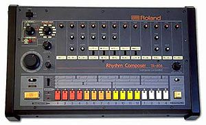 808 - A drum machine (other drum machines are available) again, 16 programmable slots for various beats.