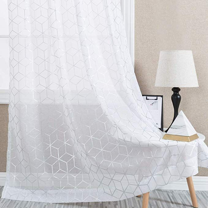 White Sheer Curtains For Living Room Foil Print Voile 95 Inches