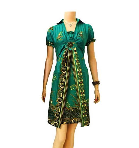 dress batik modern warna hijau