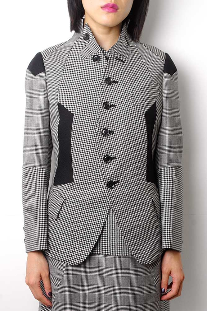 【SHIRO SAKAI】Woman's Wool Jacket/HOUNDSTOOTH×GLEN CHECK×WOOL AMUNZEN[SD-J003]   SHIRO SAKAI     FAKE TOKYO.com
