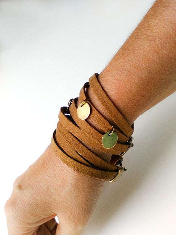 Leather cuff bracelet for women Tan suede wrap by myTotalHandMade