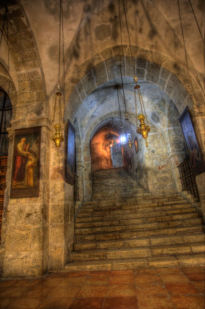 Inside of Church Of the Holy Sepulchre (The Tomb of Christ) in the Old Walled City, Jerusalem, Israel.