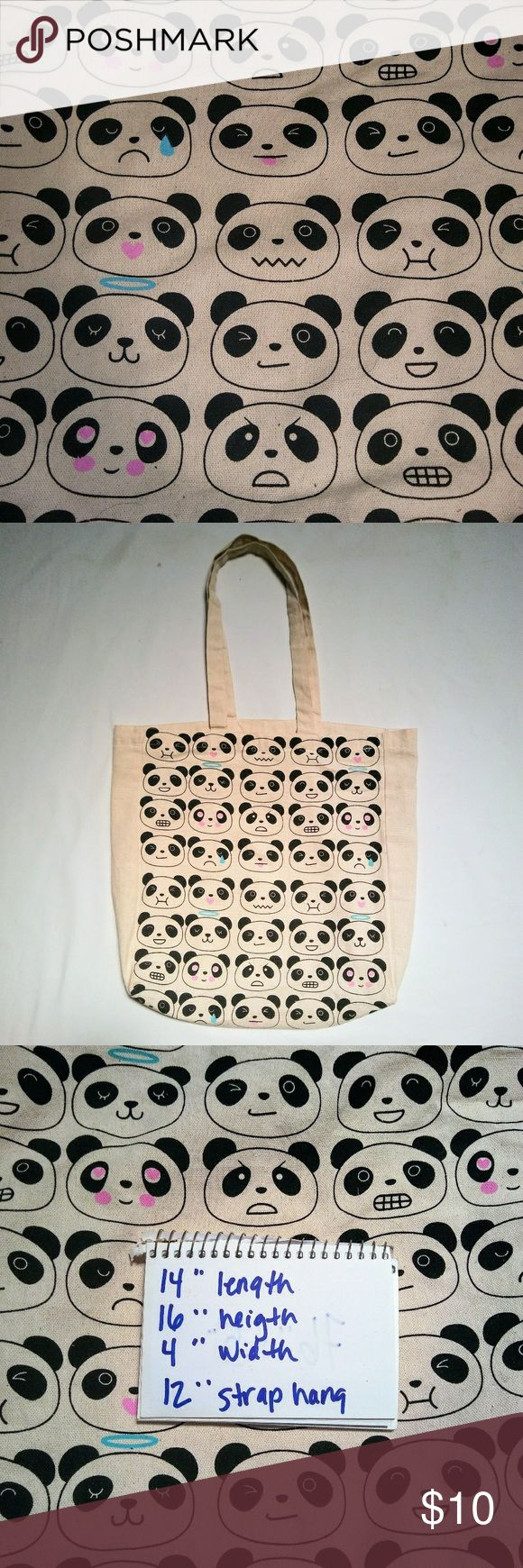 PANDA Emoji Canvas Tote Bag Off-White Cotton Canvas Tote Bag with Adorable Panda Bear Emoji Pattern.  In excellent used condition. From a smoke free home. Make an offer! BUNDLE & Automatically Get 20% Off on 2+ Items.  New Feature Alert: Bundle one or more items and I'll make you a customized awesome offer! Just bundle and wait for my offer... Up to 40% off - the bigger the bundle the bigger the savings! *2017 SUGGESTED USER* Vintage Bags Totes
