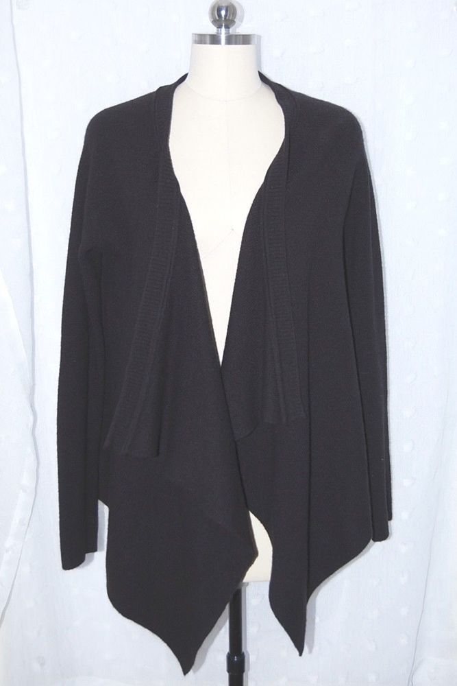 Calypso St. Barth 100% Cashmere 4ply Black Wrap Cardigan Sweater M ... ef56ef93f194a