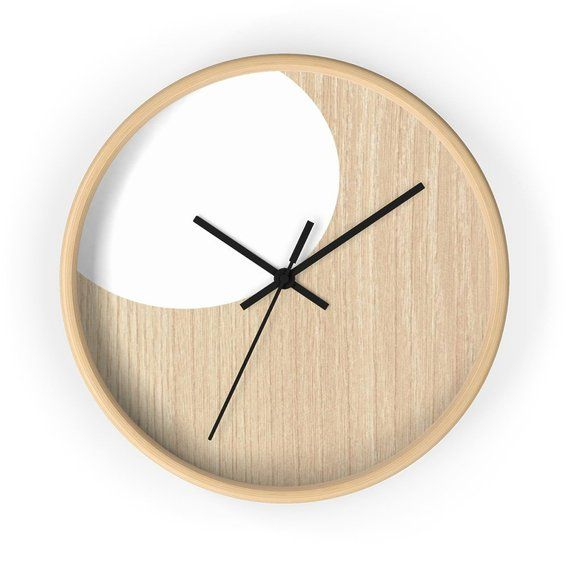 Modern Wall Clock Minimalist Design Wall Clock On Wooden Etsy Scandinavian Clocks Wall Clock Modern Black Wall Clock