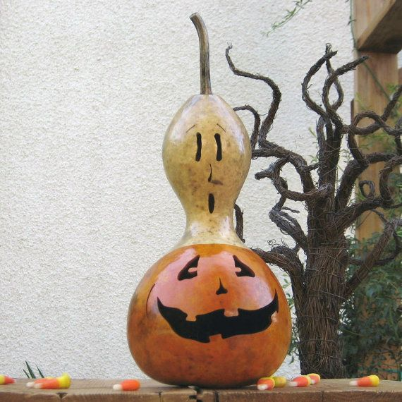 Natural Halloween Decorations: Halloween Gourd Jack-O-Lantern Natural Carved Spooky Fall