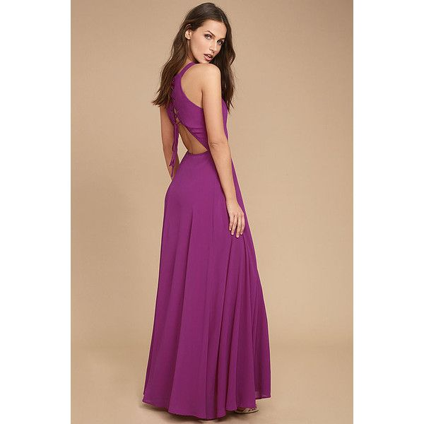Super Starlet Magenta Lace-Up Maxi Dress ($87) ❤ liked on Polyvore featuring dresses, purple, apron dress, beige maxi skirt, maxi skirt, beige dress and magenta maxi dress