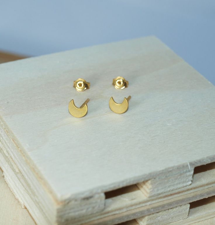 Gold-plated Moon Stud Earrings by Fragkiski on Etsy