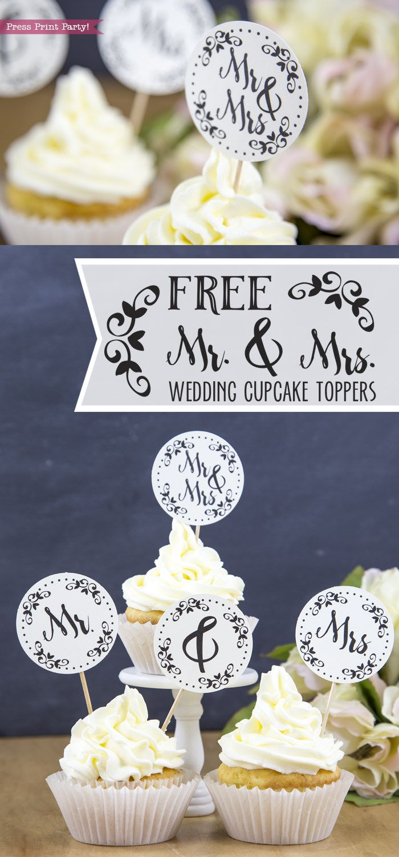 Free Mr Mrs Wedding Cupcake Toppers Press Print Party Wedding Cupcake Toppers Bridal Shower Cake Topper Diy Wedding Cupcakes