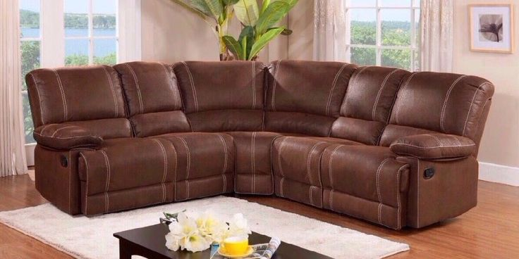 Brown Leather Corner Sofa Recliner