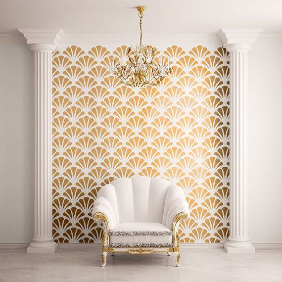 Scallop Shell Pattern Wall Stencil for Allover by MyWallStencils