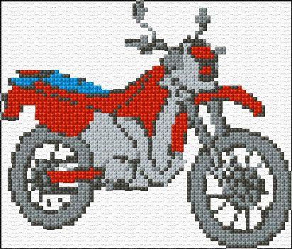 180 - Cross Stitch   Motorbike xstitch Chart   Design - pdf file