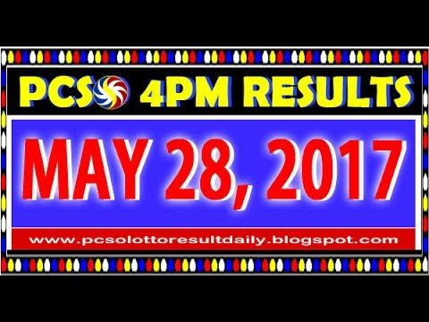 PCSO MidDay - 4PM Results May 28, 2017 (SWERTRES & EZ2)