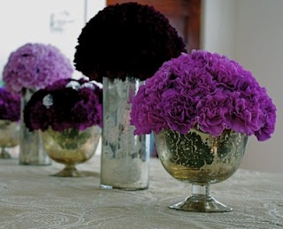 purple carnations - wedding centerpieces