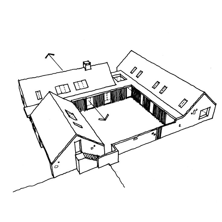 This is a concept sketch for a single storey passive house project in Northumberland
