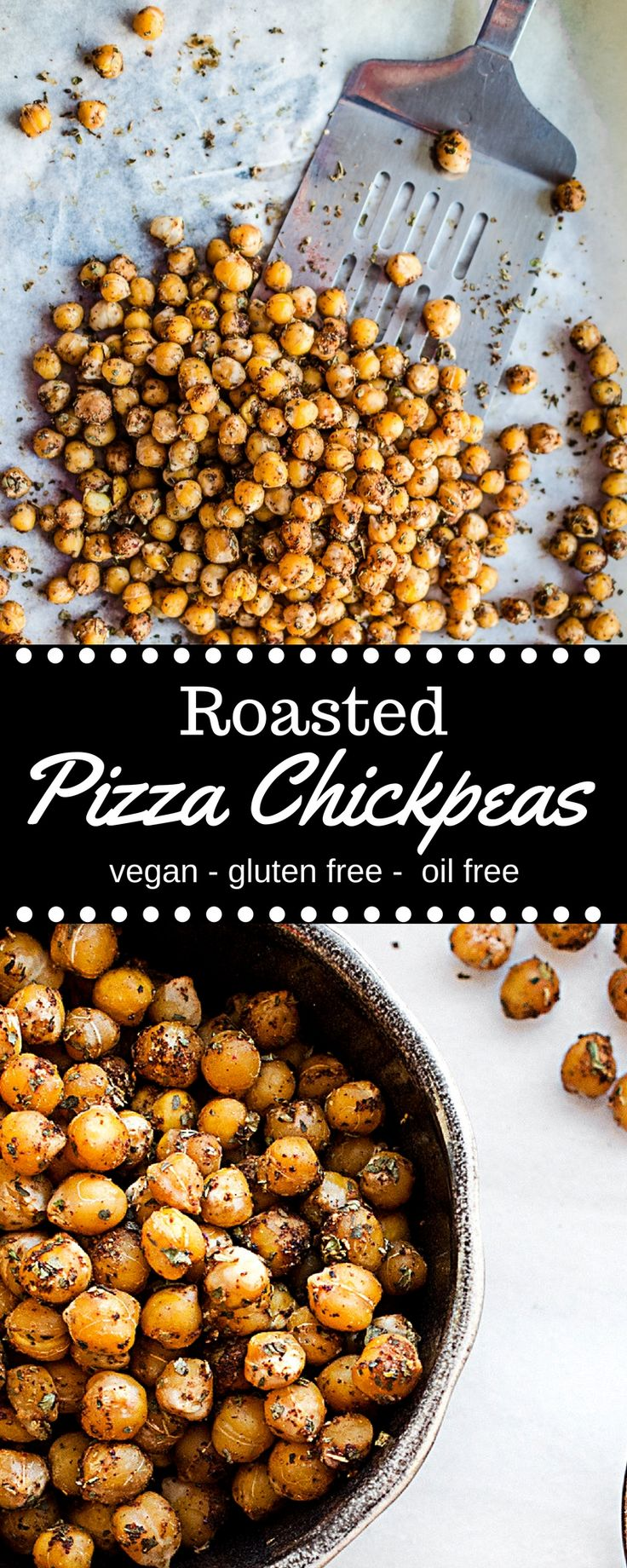 Oil free roasted Pizza Chickpeas! Great as a snack or in a salad! Vegan, gluten free, oil free recipes. Healthy vegan snacks, oil free plant based recipes.