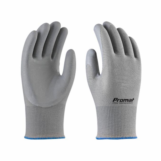 Fabricante: PROMAT   Tamanhos Disponíveis: M e G  Descrição:  Luva de segurança tricotada em fios de poliamida, revestida em látex nitrílico na face palmar e pontas dos dedos.