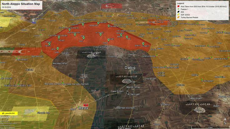 North #Aleppo Situation Map  10-10-2016 #Syria #Rebels & #Turkey vs #ISIS vs #SDF #EuphratesShield